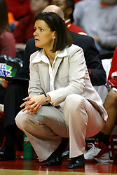 13 January 2007: Coach Robin Pingeton sits quietly watching the action. The Missouri State Bears lost to the Redbirds of Illinois State University at Redbird Arena in Normal Illinois by a score of 76-47.<br />