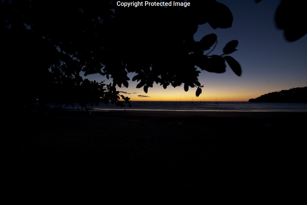 The sun sets over the Pacific Ocean from San Juan Del Sur in Nicaragua on Thursday, February 17th 2011.