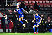 Yuri Ribeiro (5) of Nottingham Forset heads the ball during the EFL Sky Bet Championship match between Bournemouth and Nottingham Forest at the Vitality Stadium, Bournemouth, England on 24 November 2020.