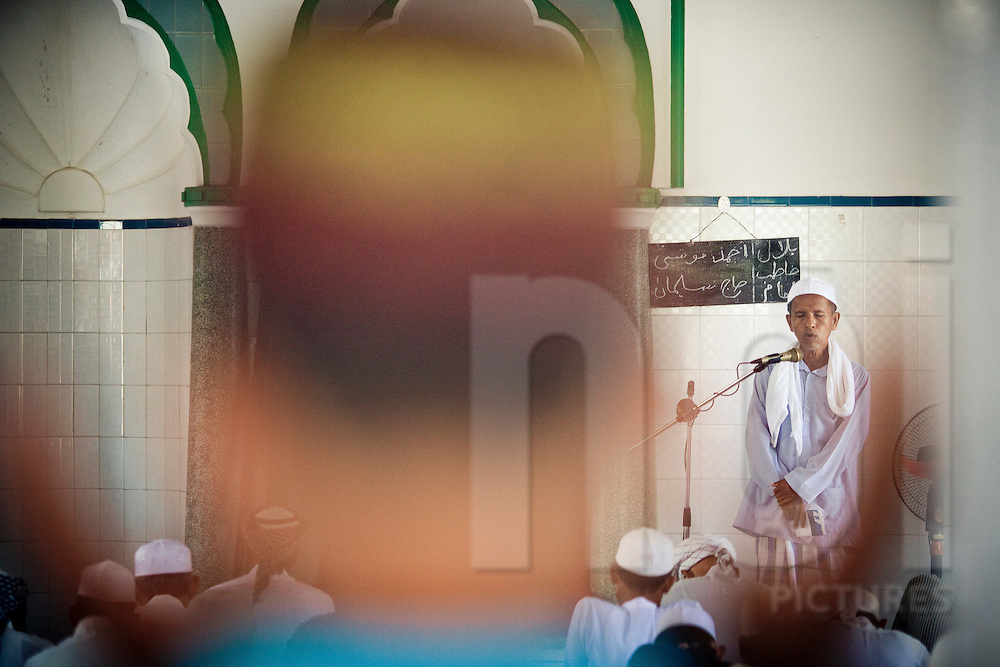 Imam preaching in a mosque of Mekong Delta area, Vietnam, Southeast Asia