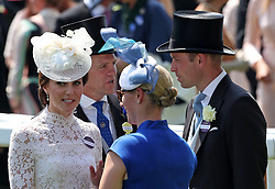 The Duchess of Cambridge, Zara Tindall, and the Duke of Cambridge during day one of Royal Ascot at Ascot Racecourse.