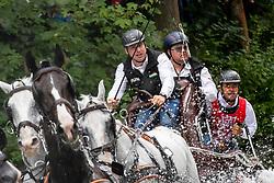 Dobrovitz Jozsef Jr, HUN, Harcos, Hildo, Neapolitano Nimrod, Neapolitano XXXIII-3, Torino<br /> Donaueschingen - CHI mit Europameisterschaft Gespannfahren 2019<br /> Marathon Four-in-hand horses Driving European Championship<br /> Vierspänner Marathon<br /> 17. August 2019<br /> © www.sportfotos-lafrentz.de/Dirk Caremans