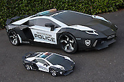 the life-sized lamborghini aventador police interceptor is made entirely out of paper<br /> <br /> seattle-based designer and visual artist taras lesko has created a life-sized lamborghini aventador police interceptor model entirely out of paper. measuring eight-feet long and weighing just over 11kg, the 'aventador A-E2′ is constructed using architectural E2 paper sheets (for the prints), which are mounted to thick chipboard material for added strength.<br /> ©Taras Lesko/Exclusivepix