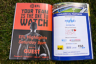 EFL advert in the programme before the EFL Sky Bet League 1 match between Gillingham and Coventry City at the MEMS Priestfield Stadium, Gillingham, England on 25 August 2018.