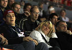 Slovenian family Kopitar (coach Matjaz and his wife Mateja at left - father and mother of Anze, at left his brother Gasper) at ice-hockey match Finland vs Germany (they played in replika jerseys like they were in year 1932) at Preliminary Round (group C) of IIHF WC 2008 in Halifax, on May 03, 2008 in Metro Center, Halifax, Canada. (Photo by Vid Ponikvar / Sportal Images)Won of Finland 5:1.