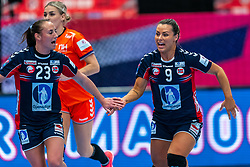 Camilla Herrem of Norway, Nora Mork of Norway celebrate during the Women's EHF Euro 2020 match between Netherlands and Norway at Sydbank Arena on december 10, 2020 in Kolding, Denmark (Photo by RHF Agency/Ronald Hoogendoorn)