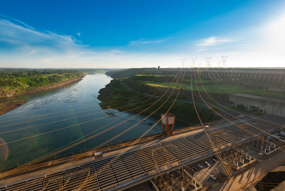 Power lines coming out from Itaipu Hydroelectric Dam