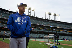 Oct 7, 2021; San Francisco, CA, USA; Los Angeles Dodgers manager Dave Roberts (30) watches his players during NLDS workouts. Mandatory Credit: D. Ross Cameron-USA TODAY Sports