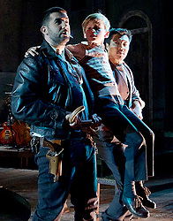 Whisper House <br /> by Duncan Sheik<br /> at The Other Place, Westminster, London, Great Britain <br /> Press photocall <br /> 13th April 2017 <br /> <br /> Simon Lipkin as Sheriff<br /> Stanley Jarvis as  Christopher<br /> Nicholas Goh as Yashujiro<br /> Photograph by Elliott Franks <br /> Image licensed to Elliott Franks Photography Services
