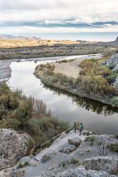 View of hikers and Rio Grande River from Santa Elena Canyon, Big Bend National Park, Texas, USA.
