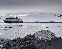 Rock Pile on the Beach on Half Moon Island with the Hurtigruten MS Fram in the Background. Image taken with a Leica T camera and 18-56 mm lens (ISO 100, 35 mm, f/16, 1/200 sec).