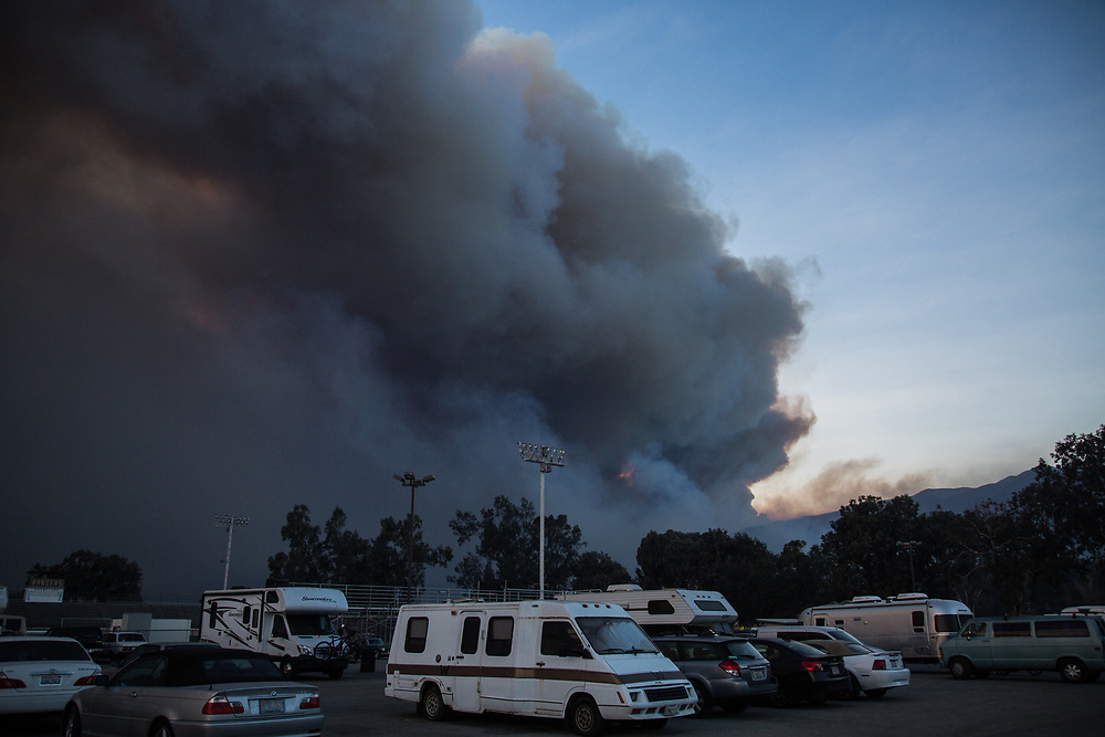 The smoke covers entire part of Wheeler Springs due to the wildfire occurred in Ojai, California. Residents lives close from the fire evacuated to Nordoff High School. On Thursday, December 7th, 2017 at Nordoff High School in Ojai, California. (Photo by Yuki Iwamura)