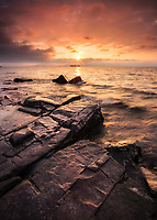 Dramatic sunset on Lake Champlain near Burlington, Vermont