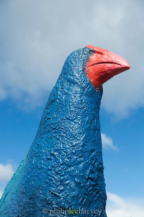 Sculpture of a takahe, an endemic endangered flightless bird, Te Anau, South Island, New Zealand