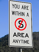 "Funny sign: ""YOU ARE WITHIN A NO ""S"" AREA ANYTIME"" shown on an ambiguous highway sign in Australia"