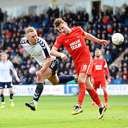 TELFORD COPYRIGHT MIKE SHERIDAN 23/3/2019 - Jon Royle battles for a header with Craig Clay of Orient of AFC Telford during the FA Trophy Semi Final fixture between AFC Telford United and Leyton Orient at the New Bucks Head