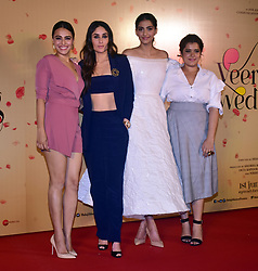 April 25, 2018 - Mumbai, India - Indian film actress (L to R) Swara Bhasker, Kareena Kapoor Khan, Sonam Kapoor and Shikha Talsania pose during the 'Veere Di Wedding' film trailer launch event at PVR cinema, Juhu in Mumbai. (Credit Image: © Azhar Khan/SOPA Images via ZUMA Wire)