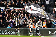 Newcastle United midfielder Matt Ritchie (11) scores a goal 1-0 and celebrates during the EFL Sky Bet Championship match between Newcastle United and Burton Albion at St. James's Park, Newcastle, England on 5 April 2017. Photo by Richard Holmes.
