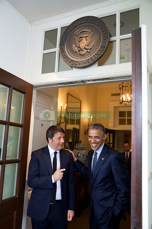 President Barack Obama bids farewell to Prime Minister Matteo Renzi of Italy as he departs the West Wing of the White House, April 17, 2015. (Official White House Photo by Pete Souza)<br /> <br /> This official White House photograph is being made available only for publication by news organizations and/or for personal use printing by the subject(s) of the photograph. The photograph may not be manipulated in any way and may not be used in commercial or political materials, advertisements, emails, products, promotions that in any way suggests approval or endorsement of the President, the First Family, or the White House.