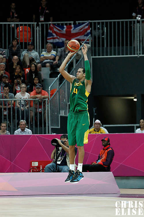 31 July 2012: Brazil Marquinhos Vieira Sousa takes a jumpshot during 67-62 Team Brazil victory over Team Great Britain, during the men's basketball preliminary, at the Basketball Arena, in London, Great Britain.