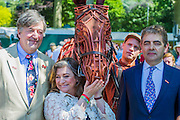 Stephen Fry, Caroline Quentin; Joey the War Horse and Rowan Atkinson on the No Man's Land:ABF The Soldier's Charity Garden. The Chelsea Flower Show 2014. The Royal Hospital, Chelsea, London, UK.