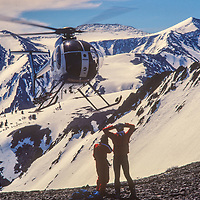 A helicopter ferries skiers up  Little Mount Morrison near Mammoth Lakes, CA.