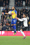Southampton midfielder Nathan Redmond controls the ball in the air during the The FA Cup 3rd round match between Derby County and Southampton at the Pride Park, Derby, England on 5 January 2019.