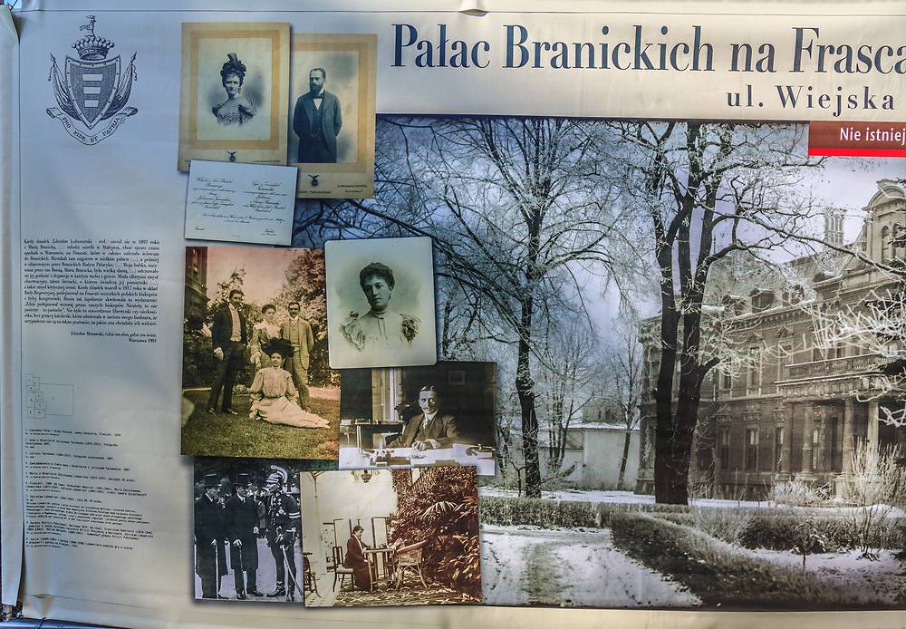 """This poster was one of park exhibition that presented the palaces and families that were destroyed during the war in Warsaw, Poland. The text """"Nie Istnieje"""" - doesn't exist - attached to many palace is the sad story of many  palaces as well as the families who inhabited them."""