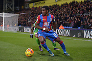 Wilfried Zaha of Crystal Palace blocks the ball from Patrick van Aanholt of Sunderland. Barclays Premier league match, Crystal Palace v Sunderland at Selhurst Park in London on Monday 23rd November 2015.<br /> pic by John Patrick Fletcher, Andrew Orchard sports photography.