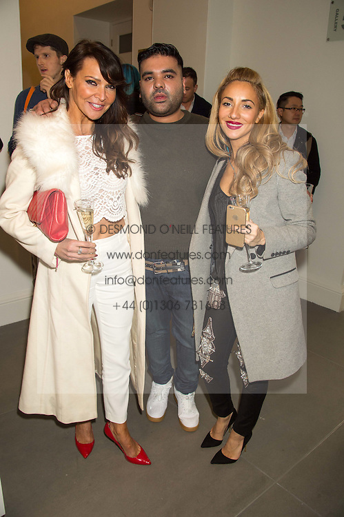 Left to right, LIZZIE CUNDY, DJ, songwriter, record producer and musician NAUGHTY BOY and TALA at the opening of the exhibition Champagne Life in celebration of 30 years of The Saatchi Gallery, held on 12th January 2016 at The Saatchi Gallery, Duke Of York's HQ, King's Rd, London.