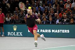 November 3, 2018 - Paris, France - Japanese player KEI NISHIKORI returns the ball to Swiss player ROGER FEDERER during the quarter final of tournament Rolex Paris Master, at AccorHotel Arena Stadium in Paris - France..Roger Federer won 6-4 6-4. (Credit Image: © Pierre Stevenin/ZUMA Wire)