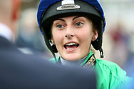 A delighted Rachel Richardson after winning The Racebets Money Back 2nd 3rd 4th Handicap Stakes over 1m (£30,000) on JUST HISS (16) during the Countryside Raceday, October Finale at York Racecourse, York, United Kingdom on 12 October 2018. Pic Mick Atkins