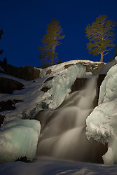 """""""Eagle Falls at Night"""" - Photograph taken at night of Eagle Falls, above Emerald Bay, Lake Tahoe. The effect in this photo was achieved by """"light painting"""" the waterfall with a high powered flashlight during a long exposure."""