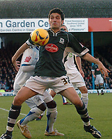 Photo: Ashley Pickering.<br />Southend United v Plymouth Argyle. Coca Cola Championship. 18/11/2006.<br />Plymouth's Bojan Djordjic holds off the Southend defence