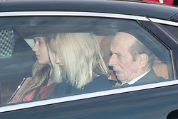 The Duke of Kent arrives with granddaughters Lady Amelia Windsor (centre) and Lady Marina Windsor, for the Queen's Christmas lunch at Buckingham Palace, London.