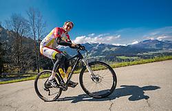 05.05.2016, Kitzbuehler Horn, Kitzbuehel, AUT, OeSV, Skisprung, Lehrgang Mountainbike Tour, im Bild Cheftrainer Heinz Kuttin (AUT) // Headcoach Heinz Kuttin of Austria during a mountain bike ride of the Austrian ski jumping Team at the Kistbuehler Horn, Kitzbuehel, Austria on 2016/05/05. EXPA Pictures © 2016, PhotoCredit: EXPA/ JFK
