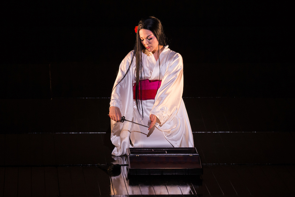 """LONDON, UK, 14 May, 2016. Rina Harms (as Butterfly) rehearses for the revival of director Anthony Minghella's production of Puccini's opera """"Madam Butterfly"""" at the London Coliseum for the English National Opera. The production opens on 16 May. Photo credit: Scott Rylander."""
