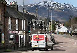 A food delivery van for the elderly travels along the main street in Callander, Perthshire as the UK continues in lockdown to help curb the spread of the coronavirus.