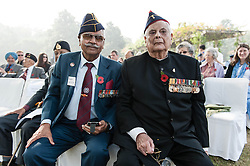 "© Licensed to London News Pictures. 11/11/2012. Delhi, India. Indian veterans of the World Wars - Brigadier R.K.Singh Gulia (left) and Lieutenant J.F.R. Jacob (right) - at a Remembrance Day ceremony held at Delhi War Cemetery, India.  Jacob-Farj-Rafael ""JFR"" Jacob (born 1923) is a retired Indian Army Lieutenant General. He is best known for the role he played in India's victory in the Indo-Pakistan War of 1971 and the Liberation of Bangladesh. Jacob, then a Major General, served as the Chief of Staff of the Indian Army's Eastern Command during the war. During his 36 year career in the army, he also fought in World War II and the Indo-Pakistan War of 1965. He later served as the Governor of the Indian states of Goa and Punjab.. Remembrance Day (also known as Poppy Day or Armistice Day) is a memorial day observed in Commonwealth countries since the end of World War I to remember the members of their armed forces who have died in the line of duty. This day, or alternative dates, are also recognized as special days for war remembrances in many non-Commonwealth countries. Remembrance Day is observed on 11 November to recall the end of hostilities of World War I on that date in 1918.   Photo credit : Richard Isaac/LNP"