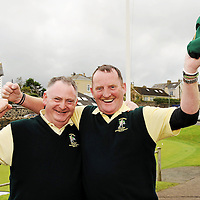 16 September 2011; Jimmy Kelly, Woodstock Golf Club, Co. Clare, Club President and player along with Martin Dormer, celebrate after winning the Pierce Purcell Shield Final against Corrstown Golf Club, Co. Dublin. Chartis Insurance Ireland Cups and Shields Finals 2011, Castlerock Golf Club, Co. Derry. Picture credit: Oliver McVeigh/ SPORTSFILE *** NO REPRODUCTION FEE ***