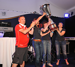 Staffan Hullgren, Vice President of Stena AB presents the Claire Leroy with Womens Match Race Cup. Photo: Chris Davies/WMRT