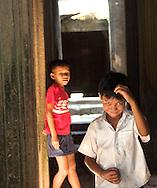 Children at play, Bayon temple, Angkor, Cambodia