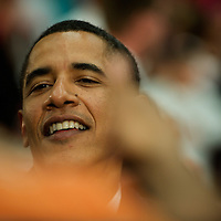 Senator Barack Obama makes the rounds through a mob of supporters following a campaign rally at Reading High School in Pennsylvania.