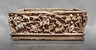 Roman relief sculpted sarcophagus with hunting scene, 2nd century AD, Perge, inv A167. Antalya Archaeology Museum, Turkey ..<br /> <br /> If you prefer to buy from our ALAMY STOCK LIBRARY page at https://www.alamy.com/portfolio/paul-williams-funkystock/greco-roman-sculptures.html . Type -    Antalya    - into LOWER SEARCH WITHIN GALLERY box - Refine search by adding a subject, place, background colour, etc.<br /> <br /> Visit our ROMAN WORLD PHOTO COLLECTIONS for more photos to download or buy as wall art prints https://funkystock.photoshelter.com/gallery-collection/The-Romans-Art-Artefacts-Antiquities-Historic-Sites-Pictures-Images/C0000r2uLJJo9_s0