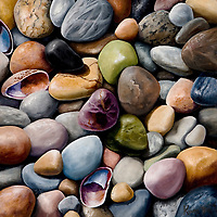 The glacier-formed shores of Lake Michigan hold an abundance of colorful pebbles. Nature's candy jar! <br /> SOLD.  Prints available upon request.