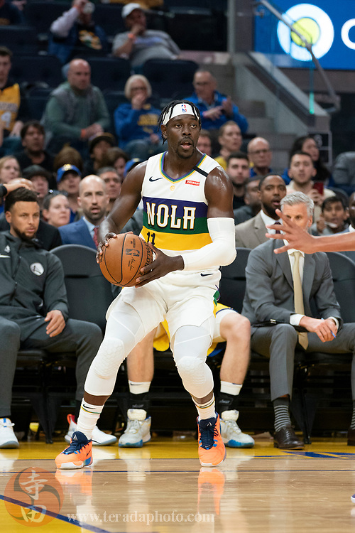 February 23, 2020; San Francisco, California, USA; New Orleans Pelicans guard Jrue Holiday (11) during the third quarter against the Golden State Warriors at Chase Center.