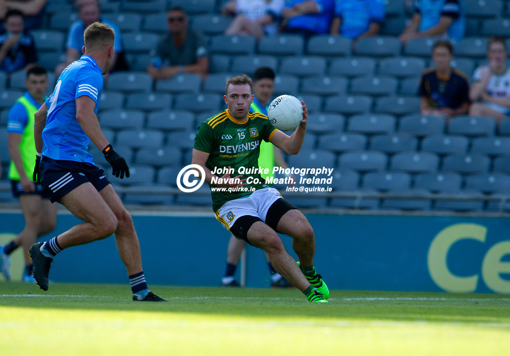 18-07-21. Meath v Dublin - Leinster Senior Football Championship Semi-Final at Croke Park.<br /> Joey Wallace, Meath in action against Johnny Cooper, Dublin in the Leinster SFC Semi-Final.<br /> Photo: John Quirke / www.quirke.ie<br /> ©John Quirke Photography, 16 Proudstown Road, Navan. Co. Meath. (info@quirke.ie / 046-9028461 / 087-2579454).