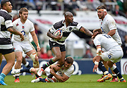 Barbarians wing Ugo Monye (Harlequins & England) is tackled by England flanker Mark Wilson (Newcastle Falcons)during the International Rugby Union match England XV -V- Barbarians at Twickenham Stadium, London, Greater London, England on May  31  2015. (Steve Flynn/Image of Sport)