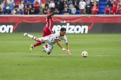 September 22, 2018 - Harrison, New Jersey, United States - Kemar Lawrence (92) of New York Red Bulls & Marco Delgado (18) of Toronto FC fight for ball during regular MLS game at Red Bull Arena Red Bulls won 2 - 0 (Credit Image: © Lev Radin/Pacific Press via ZUMA Wire)