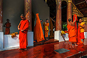 Luang Prabang. Novice Buddhist monks come to lodge in the towns temples whilst learning the life of a monk. In the late 1800s, French colonial powers and the Lao aristocracy of Vientiane developed a new architectural fusion in Luang Prabang, inspired by local temples and materials, and French and Indochine architecture. The French brought in skilled Vietnamese builders to build two-storey villas throughout the town.
